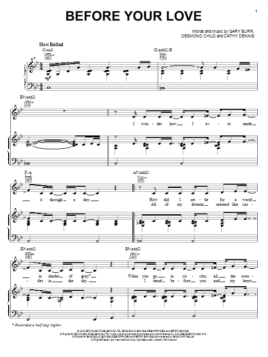Before Your Love Sheet Music