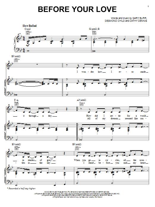 Partition piano Before Your Love de Kelly Clarkson - Piano Voix Guitare (Mélodie Main Droite)