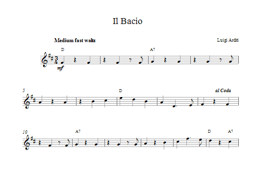 Il Bacio (The Kiss) Sheet Music