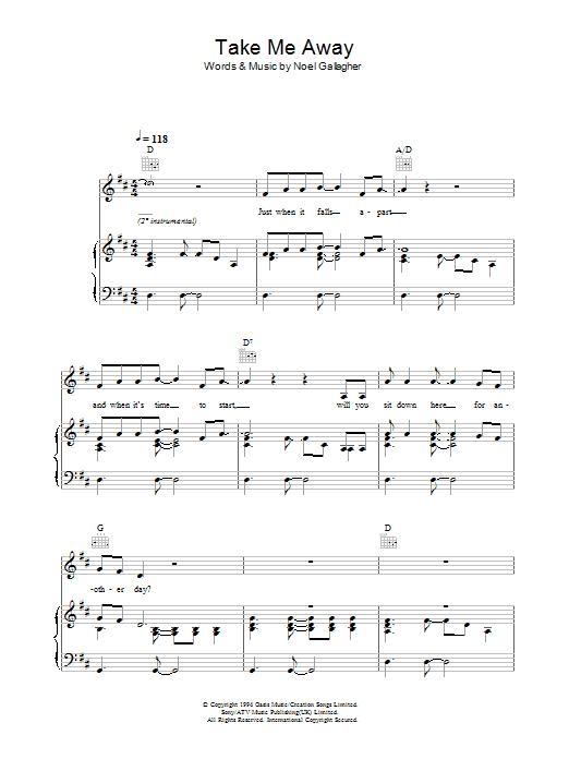 Take Me Away (Piano, Vocal & Guitar)