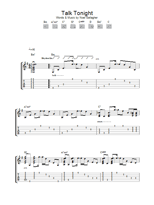 Talk Tonight (Guitar Tab)