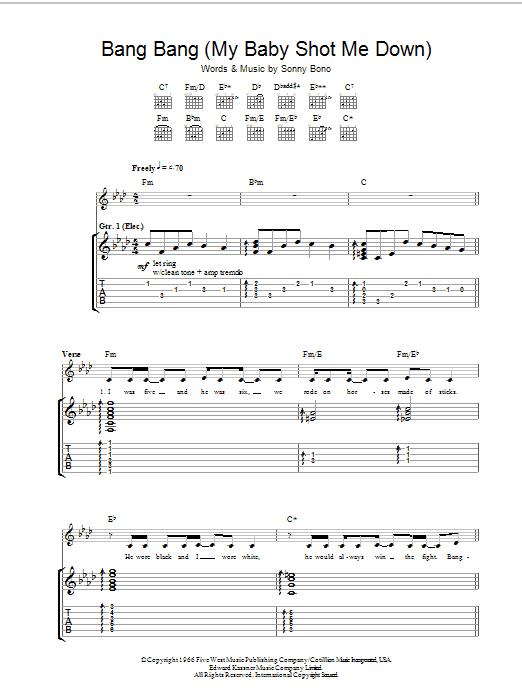 Bang Bang (My Baby Shot Me Down) (Guitar Tab)