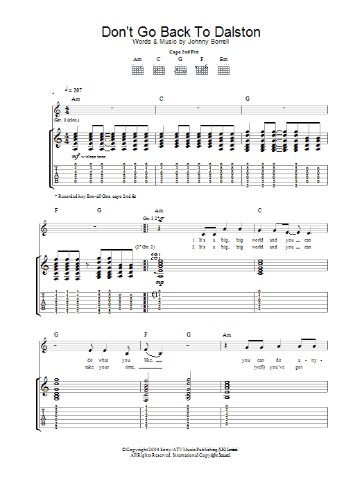 Don't Go Back To Dalston (Guitar Tab)