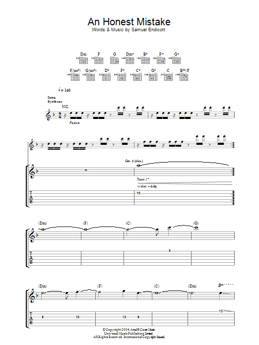 An Honest Mistake (Guitar Tab)