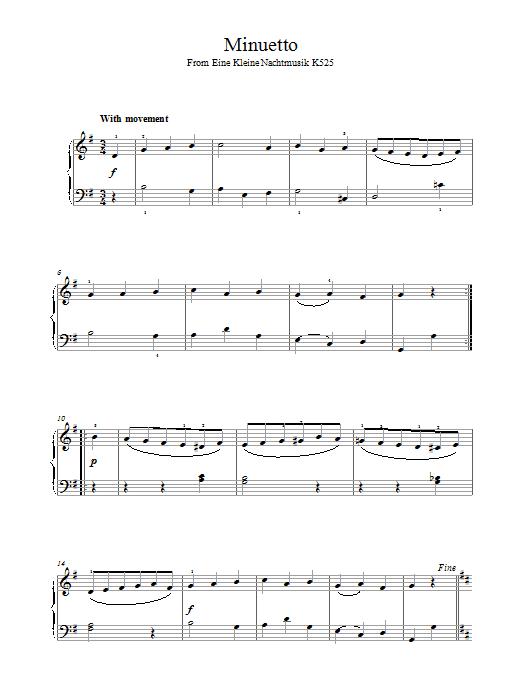 Minuetto from Eine Kleine Nachtmusik K525 Sheet Music