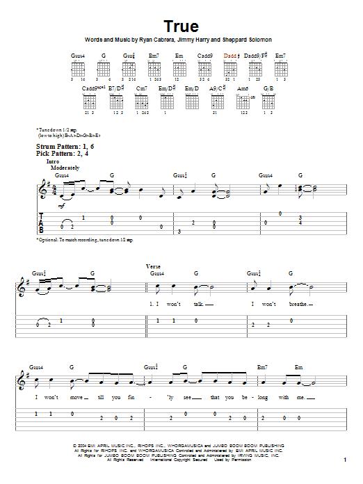 Tablature guitare True de Ryan Cabrera - Tablature guitare facile