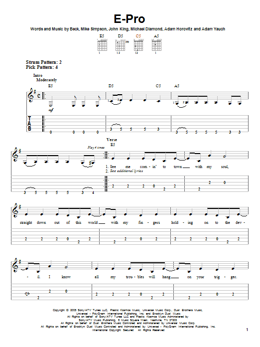 Tablature guitare E-Pro de Beck - Tablature guitare facile