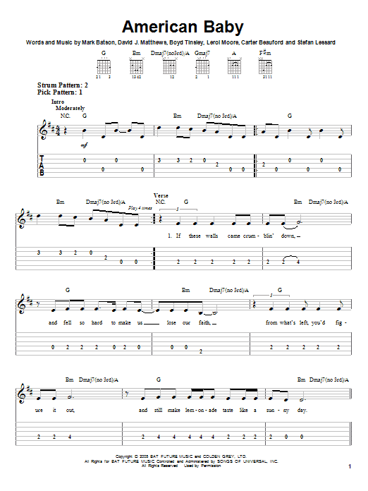 Tablature guitare American Baby de Dave Matthews Band - Tablature guitare facile