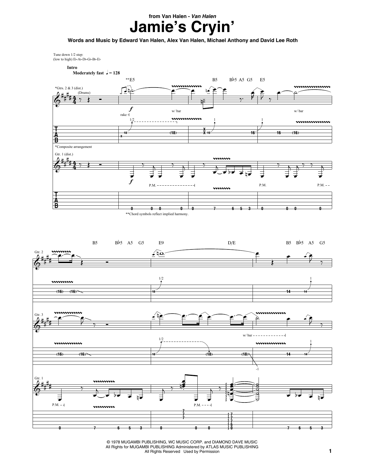 Tablature guitare Jamie's Cryin' de Van Halen - Tablature Guitare