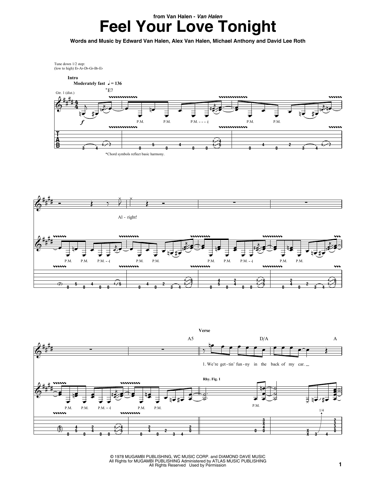 Tablature guitare Feel Your Love Tonight de Van Halen - Tablature Guitare