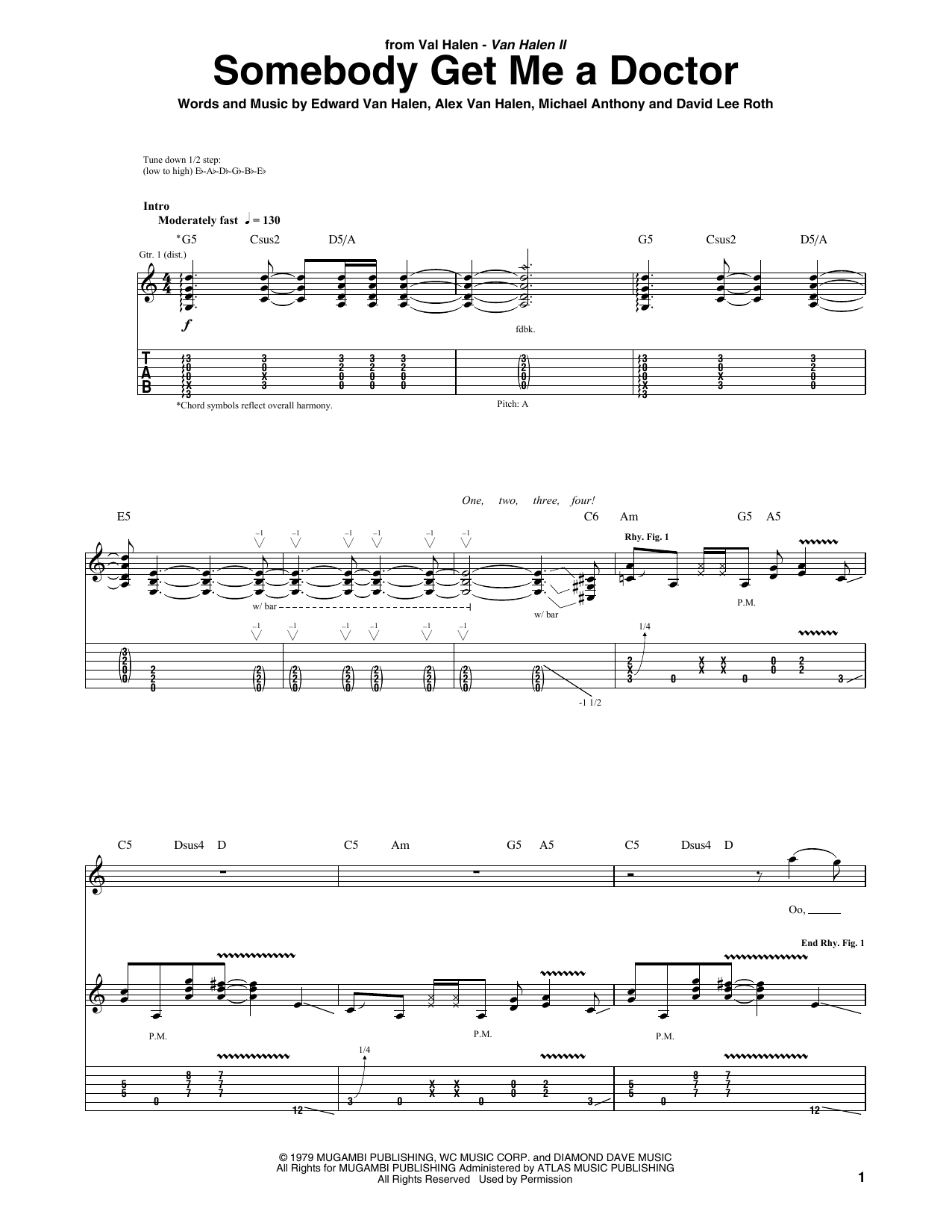 Tablature guitare Somebody Get Me A Doctor de Van Halen - Tablature Guitare