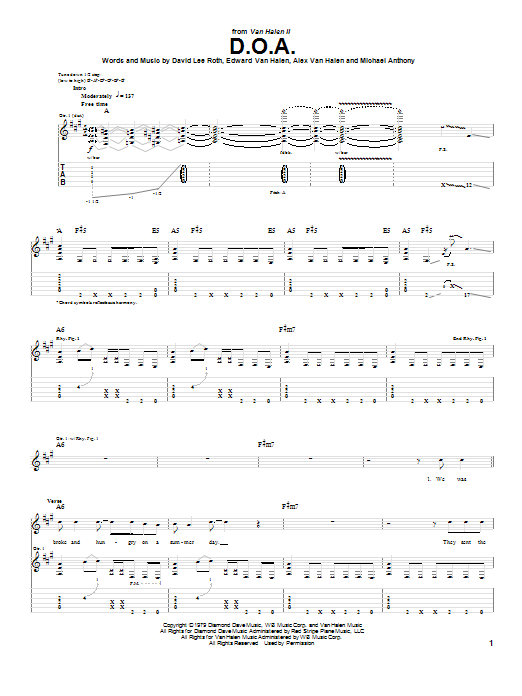 Tablature guitare D.O.A. de Van Halen - Tablature Guitare