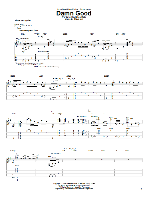 Damn Good Sheet Music