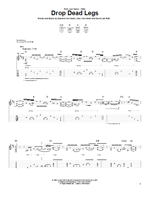 Tablature guitare Drop Dead Legs de Van Halen - Tablature Guitare