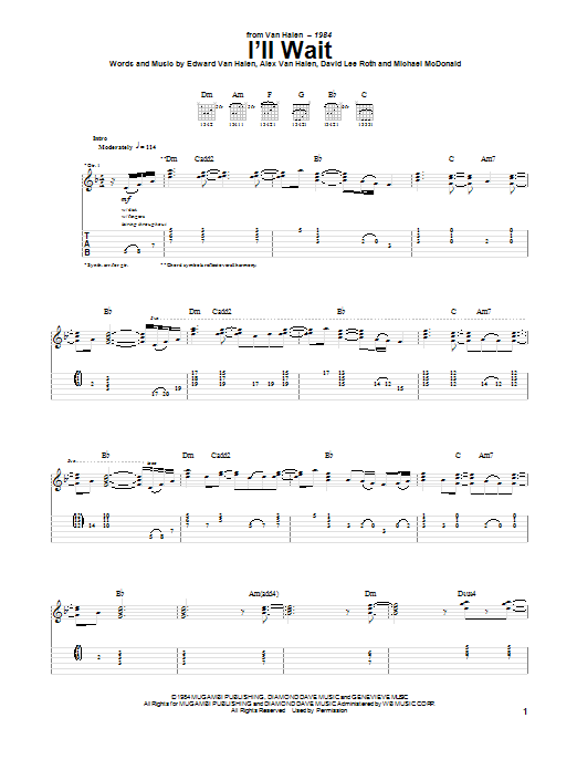 Tablature guitare I'll Wait de Van Halen - Tablature Guitare