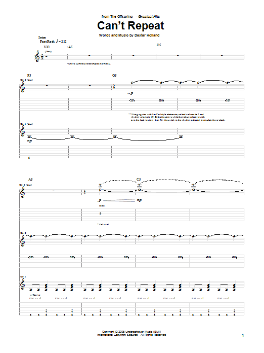 Can't Repeat Sheet Music