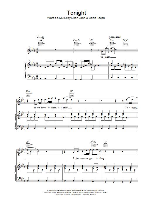 Tonight (Piano, Vocal & Guitar)