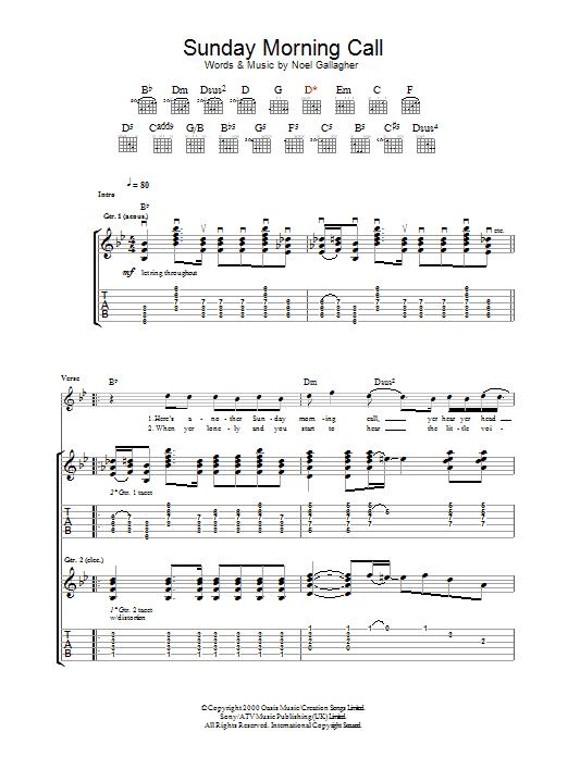 Sunday Morning Call (Guitar Tab)