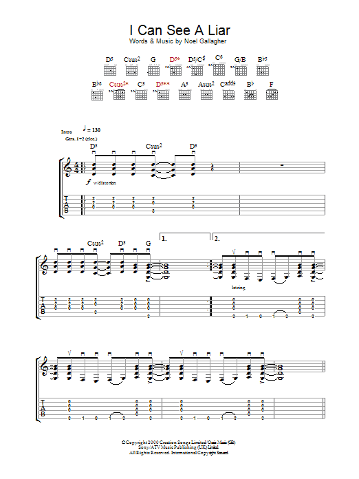 I Can See A Liar (Guitar Tab)