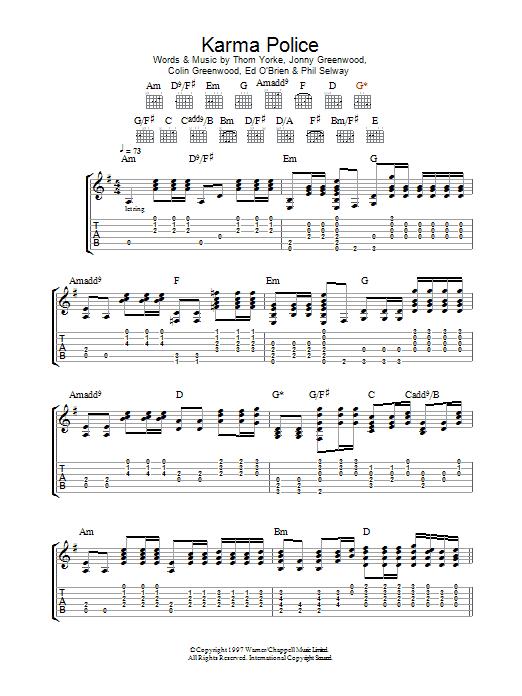 Karma Police Sheet Music Radiohead Guitar Tab