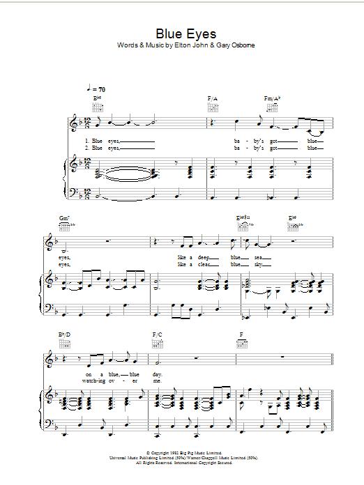 Blue Eyes (Piano, Vocal & Guitar)