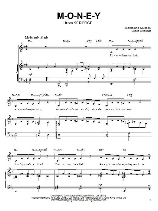 Partition piano M-O-N-E-Y de Leslie Bricusse - Piano Voix Guitare (Mélodie Main Droite)