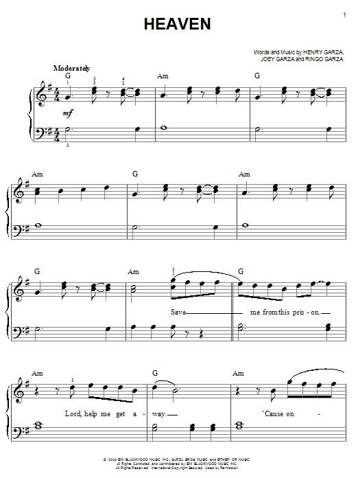 Partition piano Heaven de Los Lonely Boys - Piano Facile