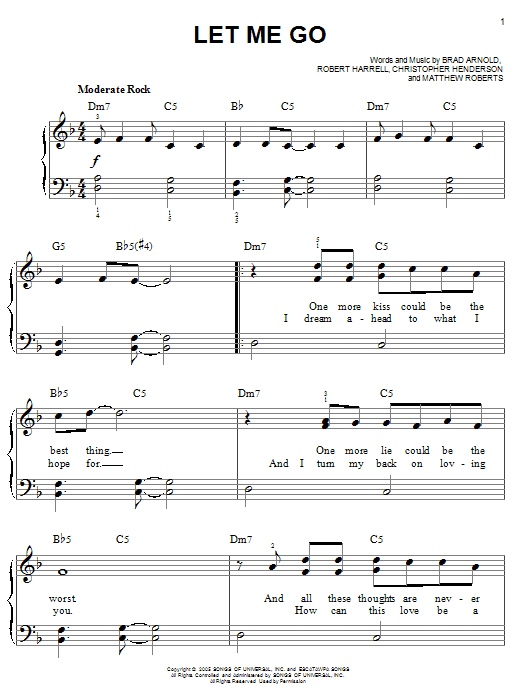 Let Me Go (Easy Piano)