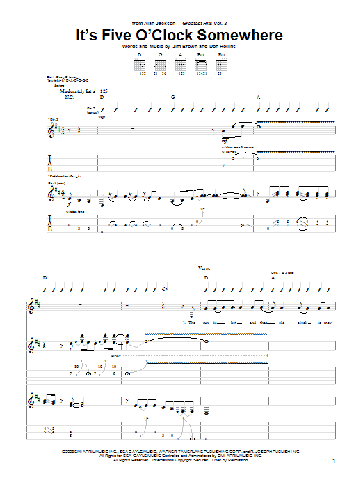 It's Five O'Clock Somewhere (Guitar Tab)