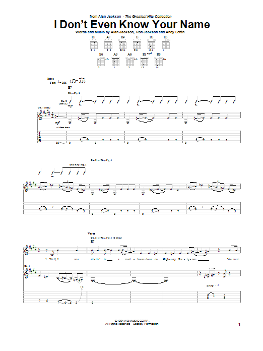 I Don't Even Know Your Name Sheet Music