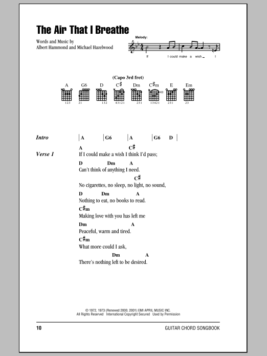 The Air That I Breathe Sheet Music By The Hollies Lyrics Chords