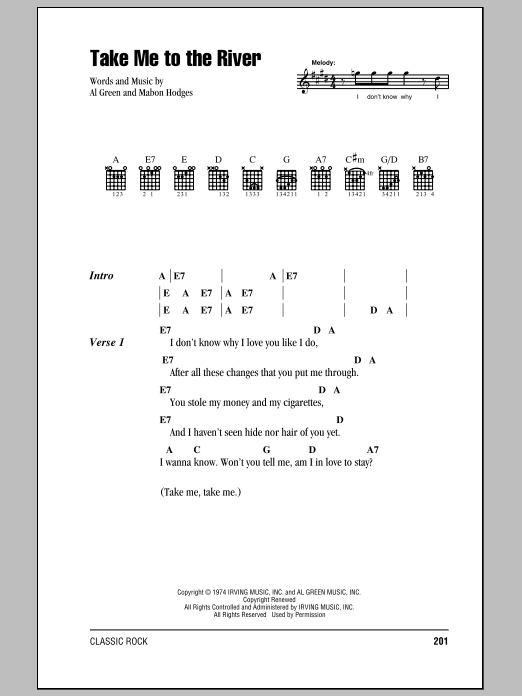 Take Me To The River Sheet Music By Talking Heads Lyrics Chords