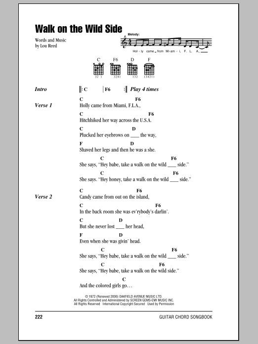 Walk On The Wild Side by Lou Reed - Guitar Chords/Lyrics - Guitar ...