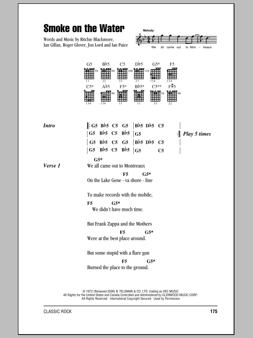 Smoke On The Water sheet music by Deep Purple (Lyrics & Chords – 83882)