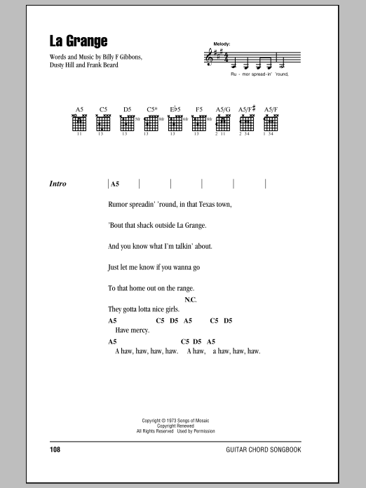 La Grange by ZZ Top - Guitar Chords/Lyrics - Guitar Instructor