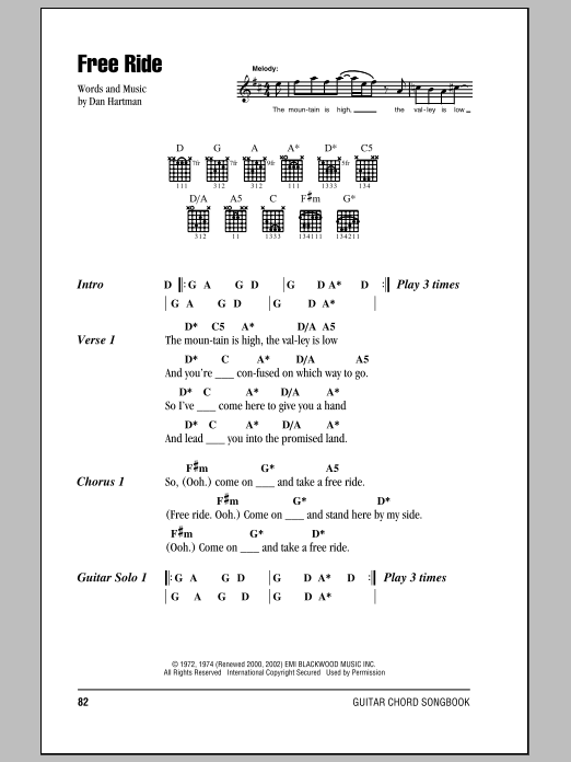 free ride sheet music by the edgar winter group lyrics. Black Bedroom Furniture Sets. Home Design Ideas