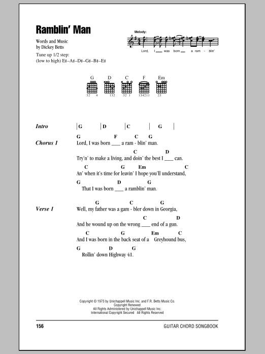 Ramblin' Man Sheet Music