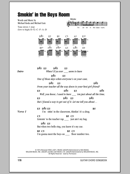 Smokin' In The Boys Room Sheet Music