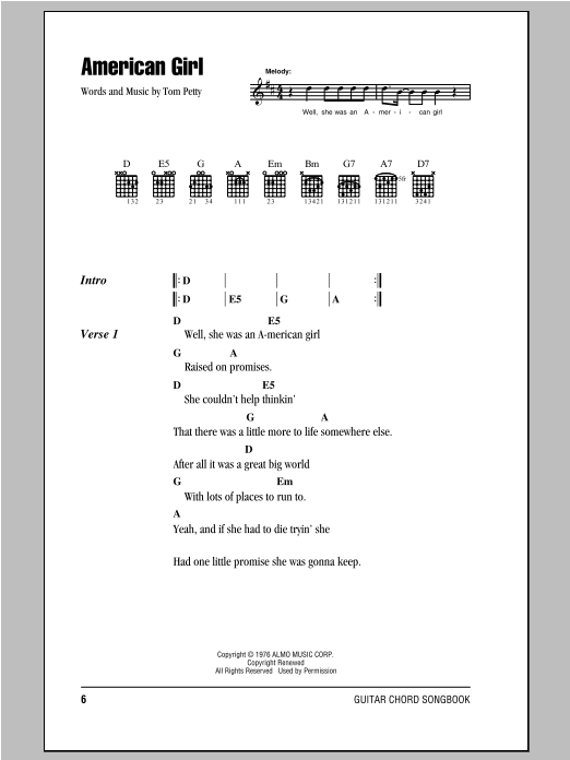 American Girl sheet music by Tom Petty And The Heartbreakers (Lyrics ...