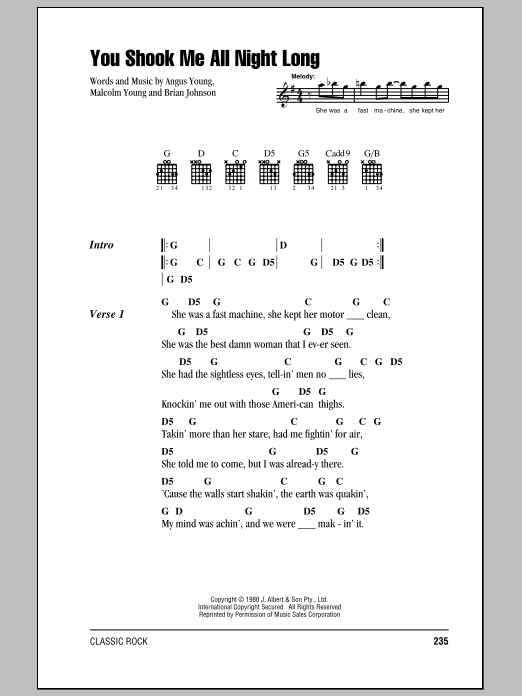 You Shook Me All Night Long by AC/DC - Guitar Chords/Lyrics - Guitar ...