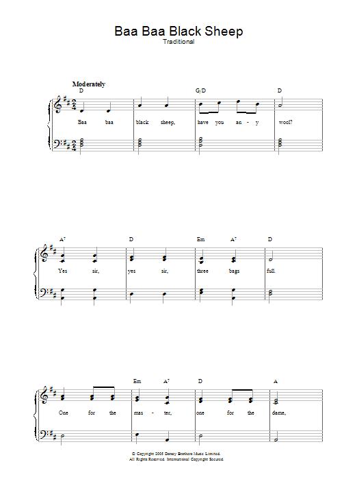 Baa Baa Black Sheep Sheet Music Traditional Piano Vocal