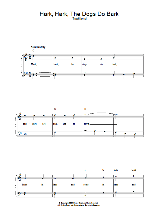 Hark Hark The Dogs Do Bark (Piano, Vocal & Guitar)