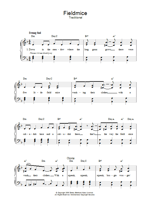 Fieldmice (Piano, Vocal & Guitar)