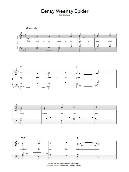 Eensy Weensy Spider (Piano, Vocal & Guitar)
