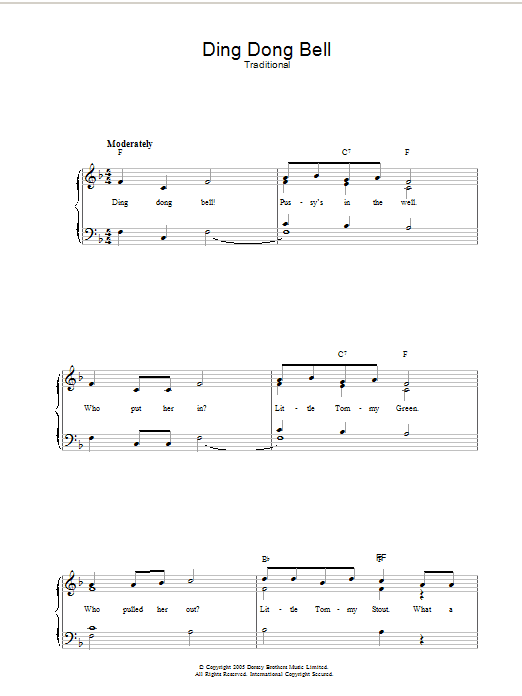 Ding Dong Bell (Piano, Vocal & Guitar)