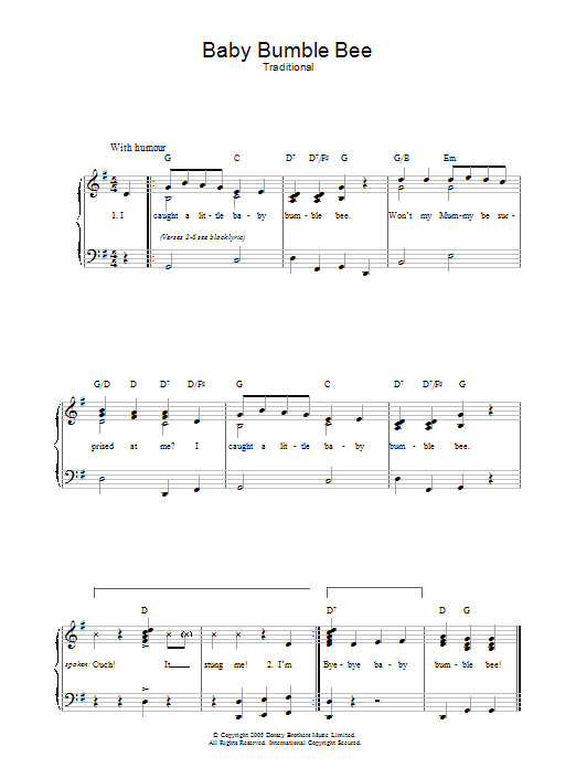Baby Bumble Bee (Piano, Vocal & Guitar)