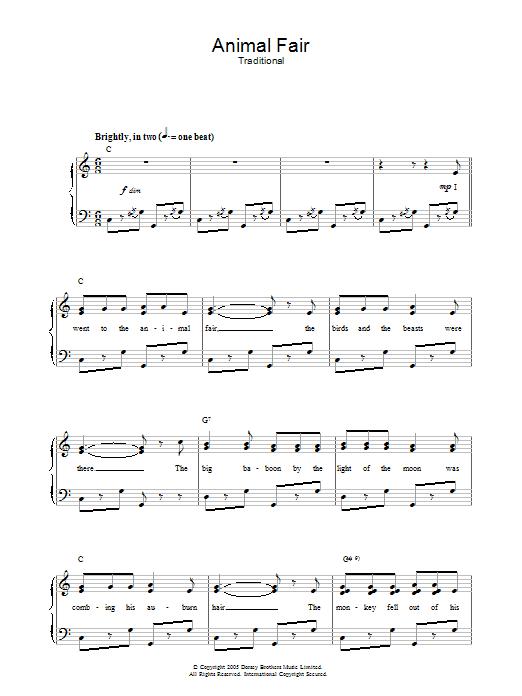 Animal Fair (Piano, Vocal & Guitar)