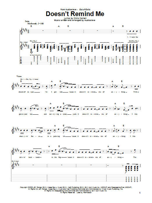 Tablature guitare Doesn't Remind Me de Audioslave - Tablature Guitare