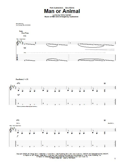 Tablature guitare Man Or Animal de Audioslave - Tablature Guitare