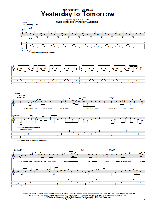 Yesterday To Tomorrow (Guitar Tab)